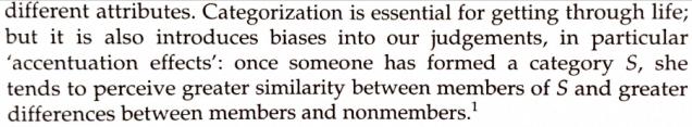 Categorizatino and bias